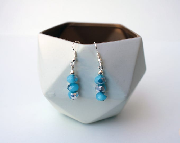 Lake Blue and Silver Drop Earrings.