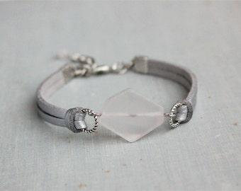 Rose Quartz Leather Bracelet