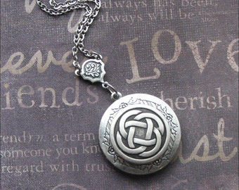 Silver Locket Necklace -Enchanted Celtic Knot  - Handmade by TheEnchantedLocket