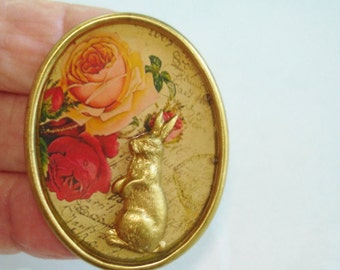 "Rabbit Rose Flowers Brooch 1.25"" x 1.75"" Multi  Tone"