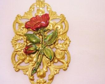 Flower Brooch Red Green Flower Gold Tone