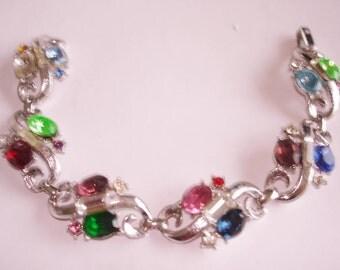 Crown Trifari Bracelet  Rhinestone Silver  Tone