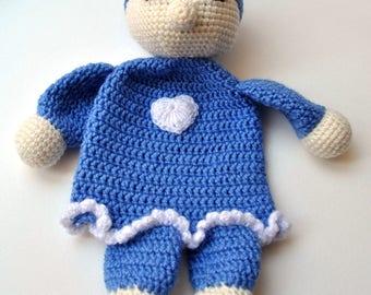 Crochet Sleeping Doll, Crochet Toys, Soft Toys, Soft Doll, Crochet Doll, Blue Doll, Soft Sleeping Doll.
