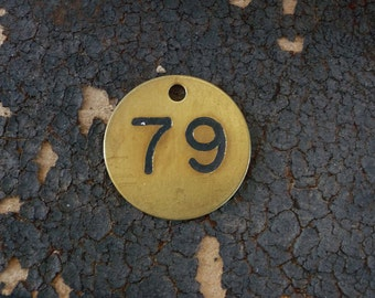 Brass ROUND Primitive Rustic Shabby Numbered Tag Vintage Patina Charm Finding Number No 79 CooL FoNT