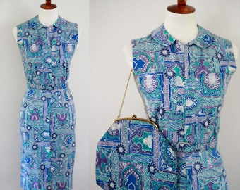 Vintage 1950s Early 1960s sleeveless shirtwaist dress with Matching Purse | pencil | Peter Pan | Button Front | Batik | Vacation | XS/S