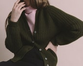 Vintage 50s Olive Green Wool Knit Cardigan | S/M