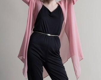 Vintage 90s Pink Sheer Chiffon Duster / Handkerchief Blouse
