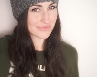 Grey Cabled Pompom Hat//Faux Fur//Vegan***READY TO SHIP***