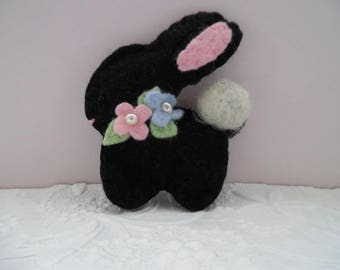 Bunny Brooch Easter Felt Black Beaded Flowers Spring