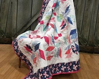 """Quilt Crib/Toddler Aria HANDMADE Patchwork Quilt Minky Moda Kate Spain Butterflies 53x53"""""""