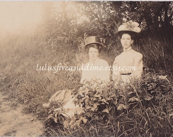 Vintage Real Photo Postcard - RPPC - Two Young Edwardian Woman Seated in Outdoor Foliage
