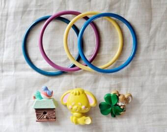 Plastic Jewelry Lot, Hallmark Birdhouse Brooch, Clover Mouse Brooch, Avon Brooch, Avon Perfume Rabbit Bunny Brooch, 1980's Bangles Bracelets