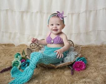 Crochet Mermaid Fin - Sea Shell Bra - Seashell Bra - Starfish Headband - Mermaid Tail Outfit - Mermaid Tail Cocoon - Green Mermaid Outfit