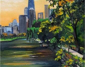 Plein Air Original Oil Painting of Lincoln Park, Chicago - 12x16in
