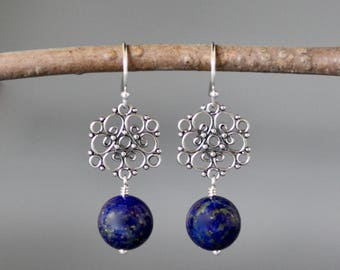 Lapis Earrings - Bali Silver Earrings - Silver Link Earrings - Blue Lapis - Lapis Lazuli Earrings - Wire Wrapped Earrings - Bridal Jewelry