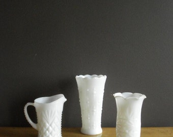 Unmatched Trio - Milkglass Vases - Milk Glass Set of Three