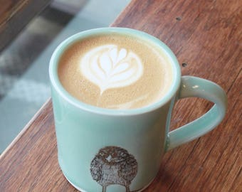 Large Celadon Chick Mug. 12 oz Chick Coffee Mug. Handmade Porcelain High Fired Mug, Celadon Glaze