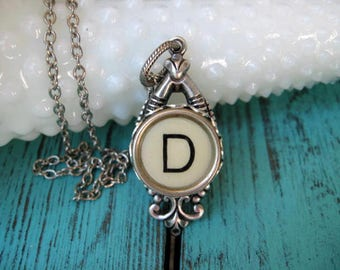 Typewriter Key Jewelry - Typewriter Necklace - Letter M  - Typewriter Charm - Vintage Key - Ornate Drop