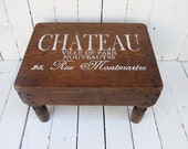 Vintage Stool, French Footstool, Paris Decor, Shabby Cottage, Rustic Farmhouse, Kitchen Decor, French Cottage Chic, Primitive Wooden Stool