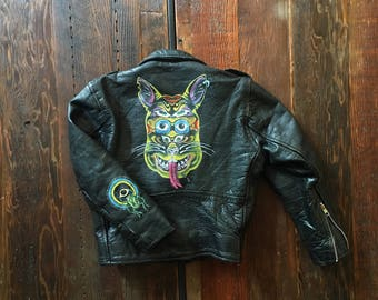 Vintage Kids Motorcycle Jacket sz 6 HAND PAINTED  Creature and Beetle, Monster face