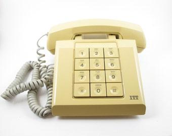 ITT Harvest Gold Push Button Desk Phone Telephone