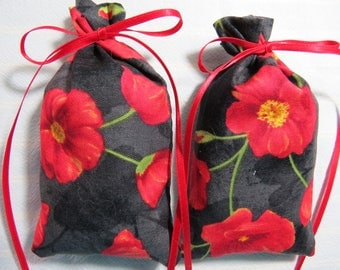 "Memorial Day Red Poppies 5""X2"" Sachet-'Spring Rain' Fragrance-Black Sachet-Cotton Herbal/Botanical Sachet-Cindy's Loft-392"