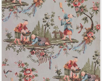 antique french chinoiserie wallpaper illustration digital download