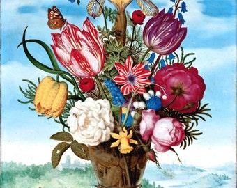 antique french botanical print bouquet of tulips peony carnation iris and seashells
