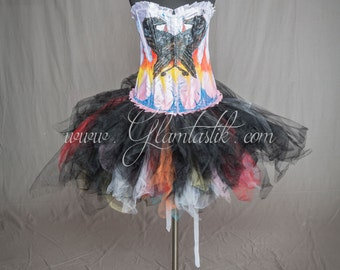 "READY TO SHIP Size Large ""One Of A Kind"" White Hand Painted Double Raven and Black and multi-color Tulle burlesque prom dress"