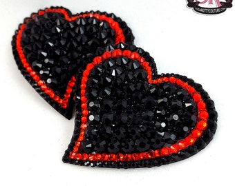 Curvy Heart 2-Color Rhinestone Nipple Pasties - SugarKitty Couture