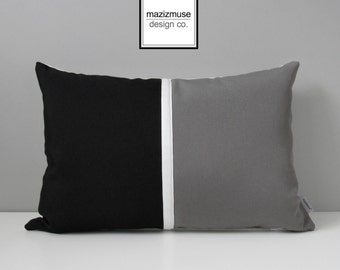Decorative Black & Grey Outdoor Pillow Cover, Modern Color Block, Black White Gray Throw Pillow Cover, Sunbrella Cushion Cover, Mazizmuse