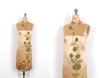 Vintage 1960s Dress / 60s Satin Cocktail Dress with Floral Beading / Gold ( medium M )