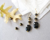 Victorian Black  and Gold Dangle  Earrings