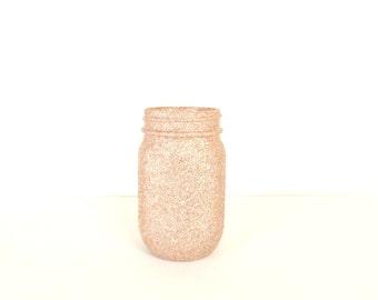 Silver Champagne Glittered Pint Mason Jar, Flower Vase, Wedding Decoration, Makeup Brush Holder, Pen and Pencil Holder