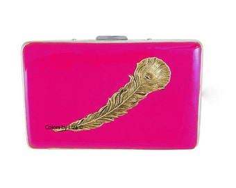 Peacock Feather RFID Metal Wallet with Credit Card Organizer Hand Painted Enamel with Assorted Colors and Personalized Options