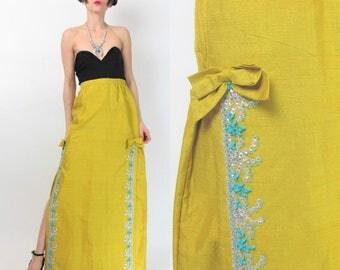 1960s Sequin Maxi Skirt Dupioni Silk Mustard Yellow Skirt Beaded Evening Skirt Formal Prom Skirt Bows High Waisted Skirt (XS) E404