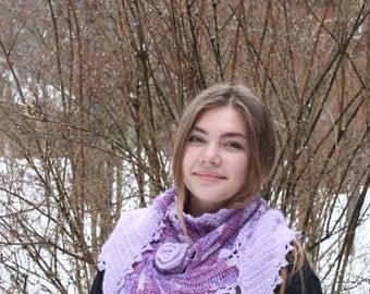 Boho Chic Lilac Freeform Crochet Scarf Shawl Cape Wrap Neckwarmer, Bohemian knit scarf shawl, Winter accessories, Art to wear