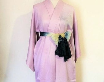 Vintage light formal KIMONO TUKESAGE KYOTO landscape hand paint lilac satin crape size Small ready to ship