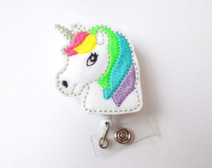 Unicorn Retractable Badge Reel - Fun Badge Holder - Labor and Delivery Badge - Medical Badge - Felt Badge - Pharmacy Badge - Gift under 10