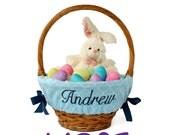 Large Personalized Easter Basket Liner for oversized baskets, Blue Trellis, Basket not included, Jumbo, Monogrammed Easter basket liner