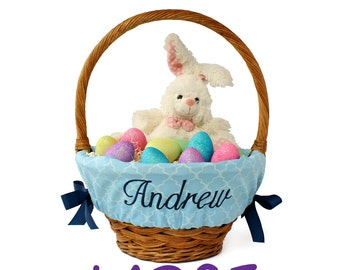 Large Personalized Easter Basket Liner for oversized baskets, Blue Trellis, Basket not included, Jumbo, Monogrammed Easter basket liner