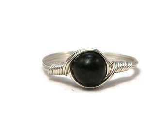 Shungite Argentium Sterling Silver Wire Wrapped Ring Custom Sized