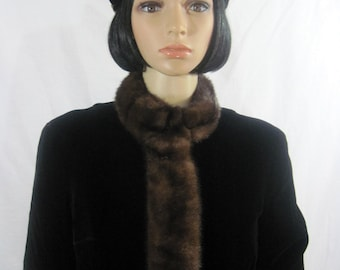 1960's MINK & VELVET Crop JACKET by Lee Jordan of New York size 14 medium