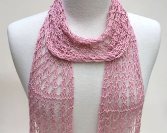 Cotton and Hemp Scarf- Hand Knit/ Soft Pink/ Rose