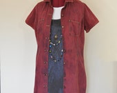 "Red Sz 10 Medium Denim Shirt DRESS - Scarlet Red Dyed Upcycled Liz Claiborne Denim Shirt Dress -  Adult Womens Size Medium (42"" chest)"