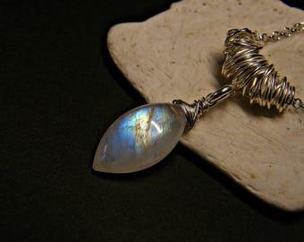 Rainbow moonstone necklace, moonstone silver necklace, rainbow moonstone pendant, rainbow moonstone silver pendant, bridal jewellery