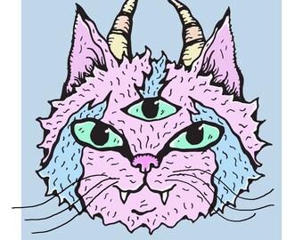 Three-Eyed, Horned Pink Wiggly Kitties Cat Art Print