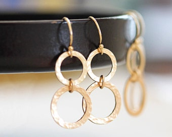 Open Circles Earrings, Gold Circle Earrings, Everyday Earrings, Gold Filled Dangle Earrings, Everyday Jewelry