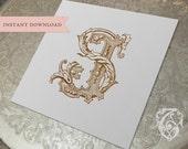 Vintage Wedding Monogram SJ JS Digital Download S J