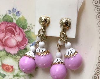 Vintage Shabby Chic Earrings, Clip on Earrings, Filigree Enamel earrings,Enamel Bead Caps, Pastel Pink earrings,Cottage Chic